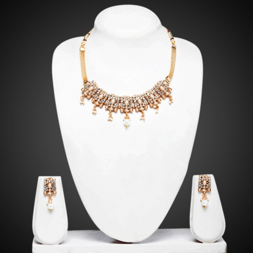 7 Square White Necklace Set - Peacock Collection
