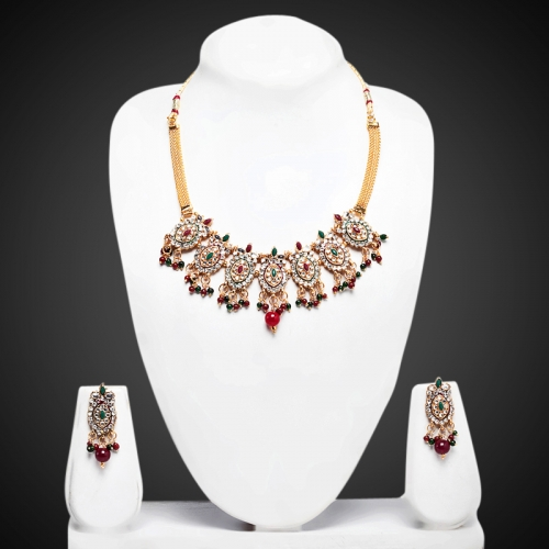 7 Oval With Maroon Green Leaves Necklace Set - Peacock Collection