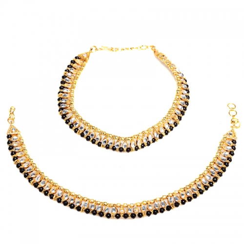 Black Kundan Anklets - Peacock Collection