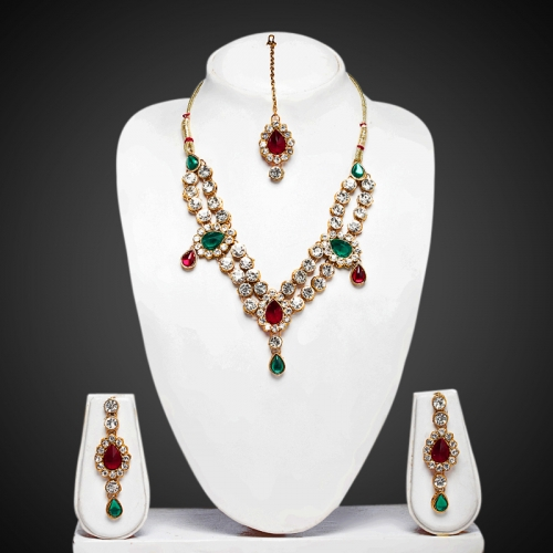 Maroon Green Double Line Kundan Necklace Set - Peacock Collection