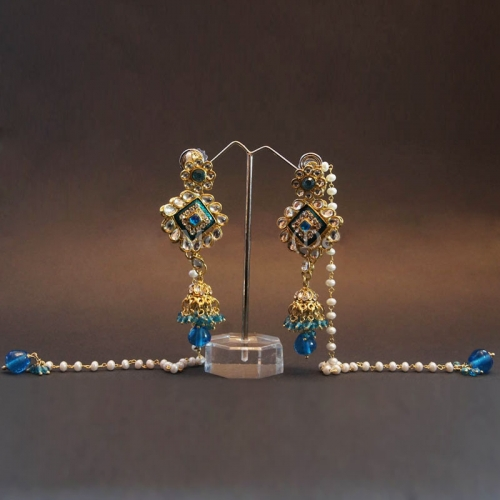 Blue Kashmiri Earrings - Pooja Motwani