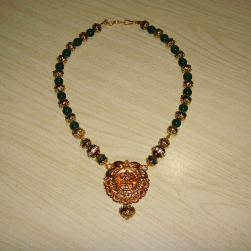 Green Jade Necklace With Laxmi Pendant
