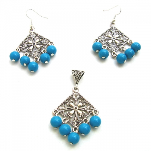 Blue Pendant And Earring Set - Rumaancrafts