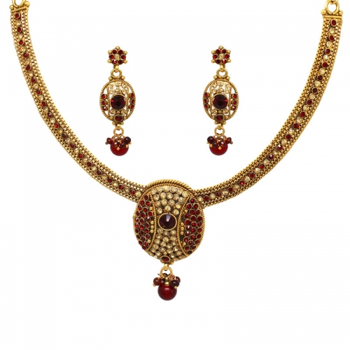 Maroon Stoned Brass Necklace Set