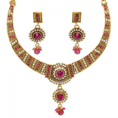 Royal Pink Stoned Brass Necklace Set