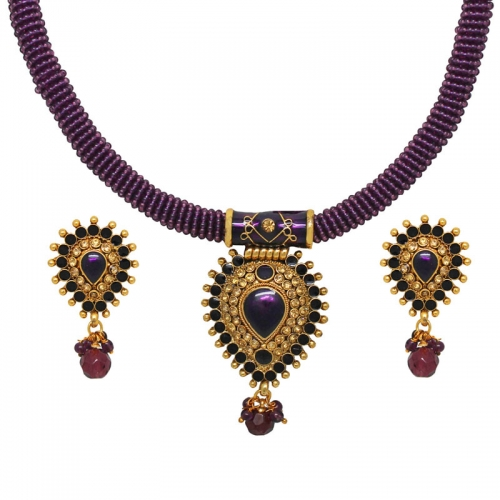 Wine Coloured Necklace Set