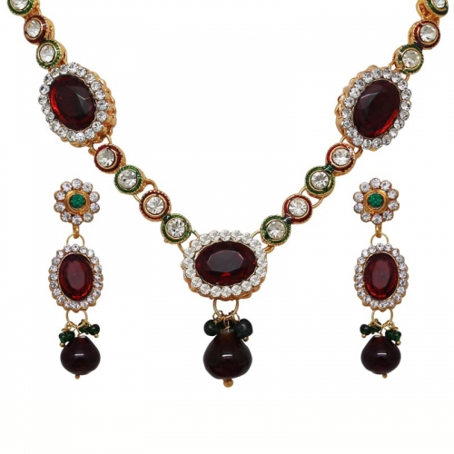 Colored &  White Stone Necklace Earring  Set