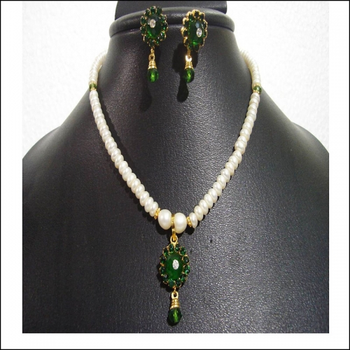 Green Onyx Pearl Necklace Set - Shiva