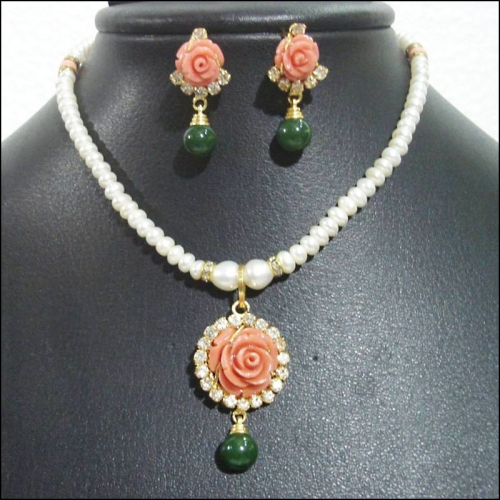 Peach Coral Flower Pearl Necklace Set - Shiva