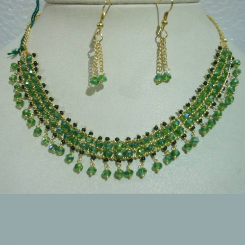 Green Crystal Necklace Set - Shiva