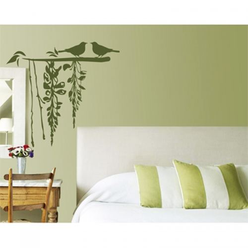 Wall Decor Bird Design : Birds in love wall art stick silhouette design home