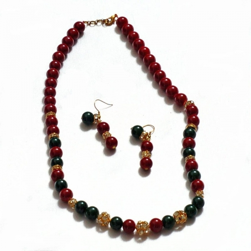 Red And Green Bead Jewellery Set