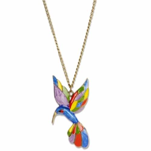 Bright Colored Flying Bird Necklace