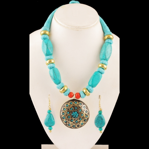 Red & Turquoise Blue Necklace Set