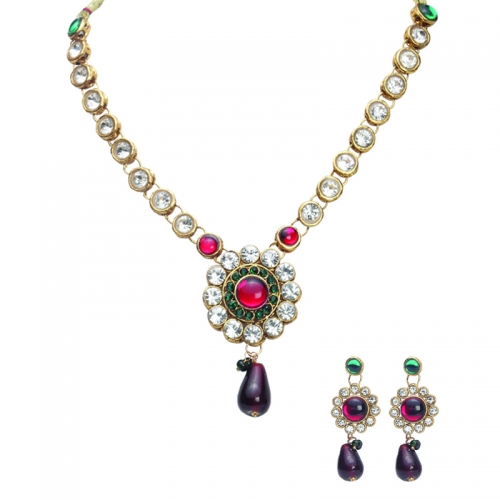 Royal Silver Red And Green Neckalce Set