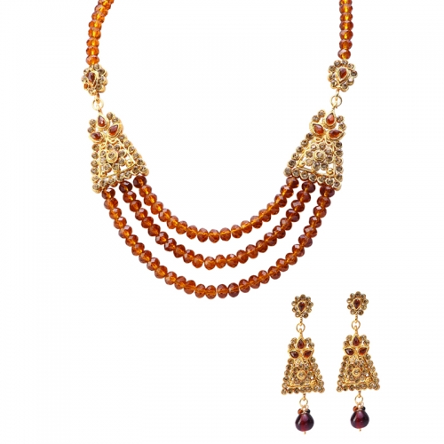 Brown And Golden Diamantes Necklace Set