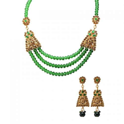 Green Beads And Golden Diamantes Necklace Set