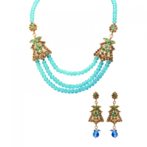 Blue Beads And Golden Diamantes Necklace Set