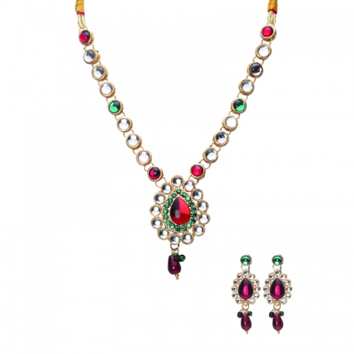 Kundan And Red Stones Brass Necklace Set