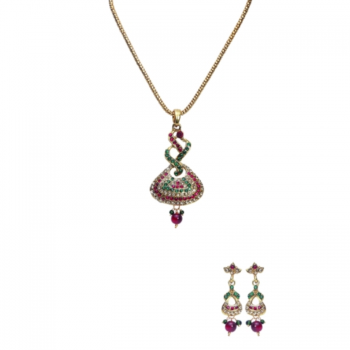 Red Green And White Stones In Golden Polish Designer Brass Necklace Set