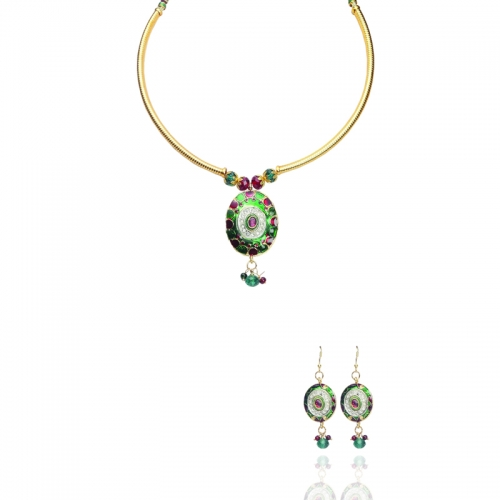 Red Green And White Stones In Golden Polish Necklace Set In Brass