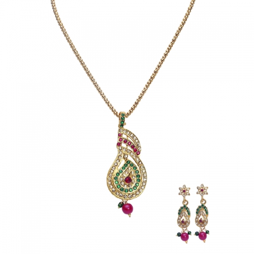 Red Green Stones In Designer Pendant Set With Chain