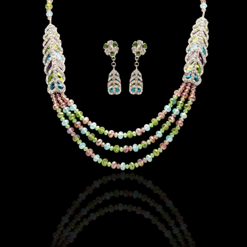 Multi Colour Stones And Beads Necklace Set In Brass