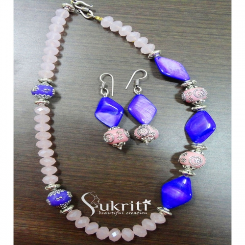 Pink And Purple Bead Necklace Set