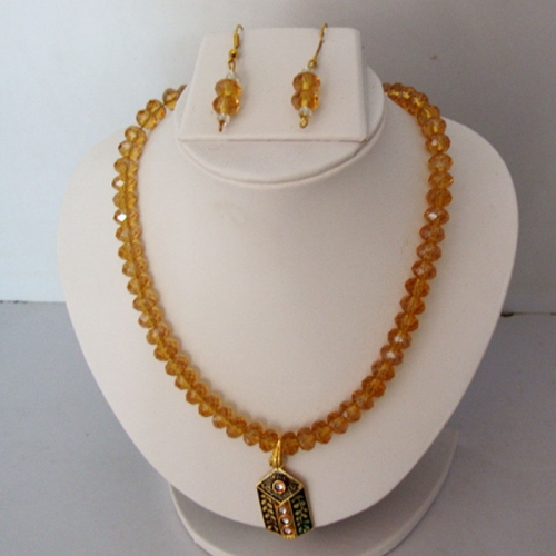 Yellow Crystal Necklace Set