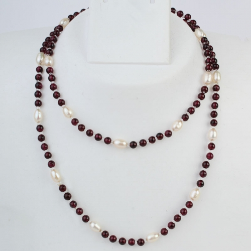 Long Pearl & Garnet Necklace