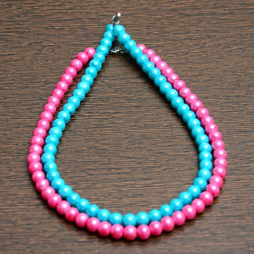Sea Blue And Pink Pearl Chain Combo