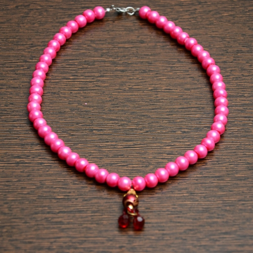 Pink Pearl Chain With Dark Red Crystal Locket