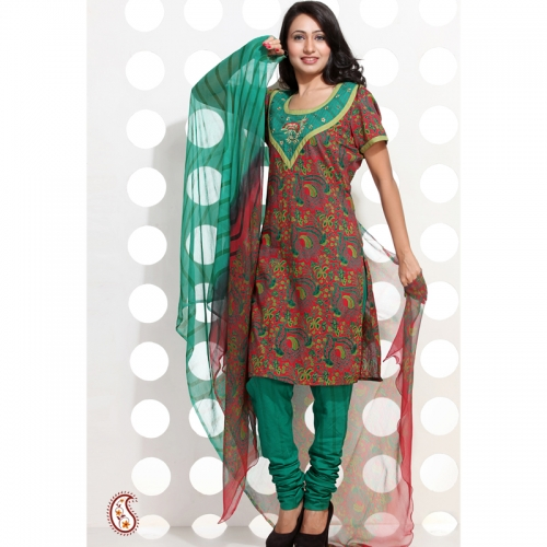 Embroidered Block Printed Cotton Stitched Suit Set