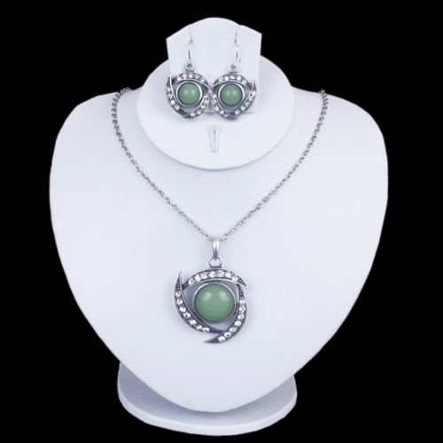 Metal Necklace With Green And White Stones & Matching Earrings- Entice Collections