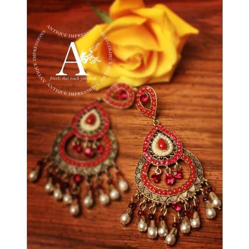 Red Chandelier India: Chandelier Earrings With Beads Red Diamonds & Pearls