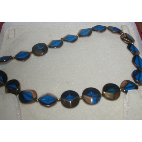 Charmz-peacock Blue Glass Beaded Necklace