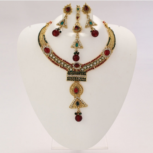 Indian Ethnic Necklace Set,earrings And Maangtikka With Color Diamanate & Stone