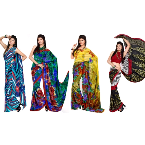 Exclusive Combo Pack Of 4 Printed Sarees Offer By Variation