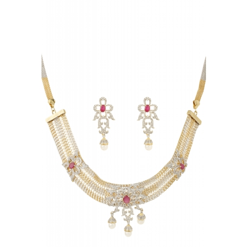 Dilan Jewels Happiness Collection Mesh Chain Gold Plated Red Colour Pearl Necklace Set For Women available at Craftsvilla for Rs.6795