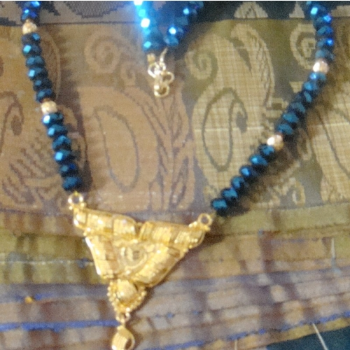Dark  Blue Shimmer Crystals And Gold Pendant Necklace