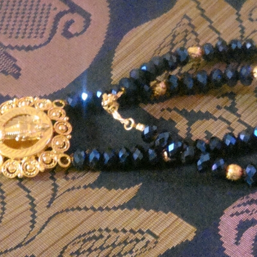 Dark  Blue Shimmer Crystals And Laxmi Pendant Necklace-2