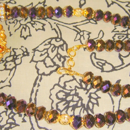 Dark  Violet Shimmer Crystals And Laxmi Pendant Necklace