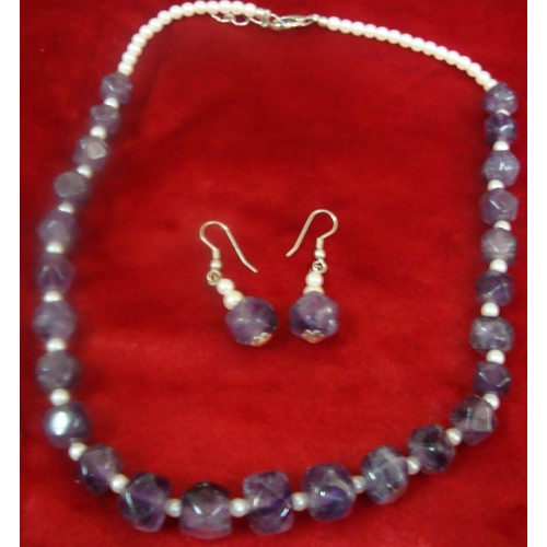 Amethyst Pearl Necklace With Errings
