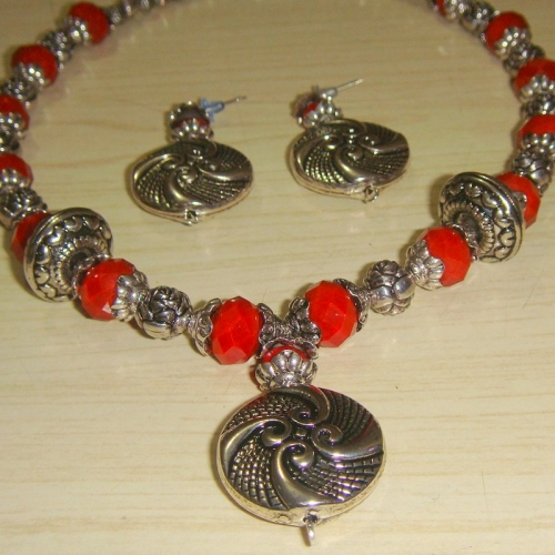 Red Crystal Necklace With Handmade Pendant Set