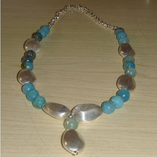 Turquoise Onyx And Art Silver Necklace With Pendant