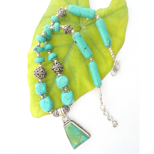 Turquoise Beads Necklace With Silver Alloy Oxidised
