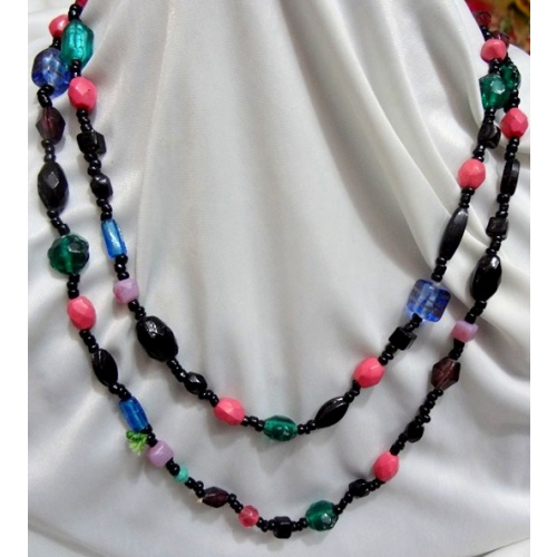 Black And Colorful  Long Necklace