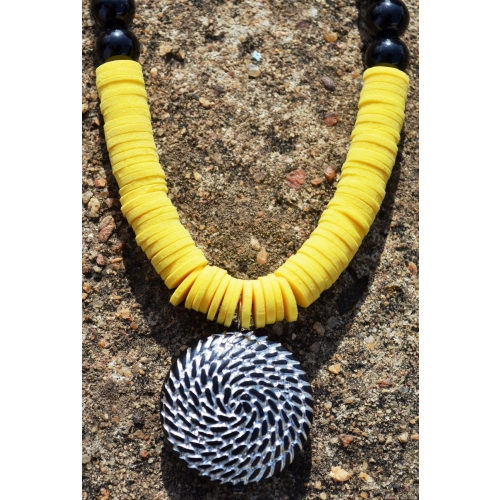 Yellow Foam-dot Necklace With Pendant