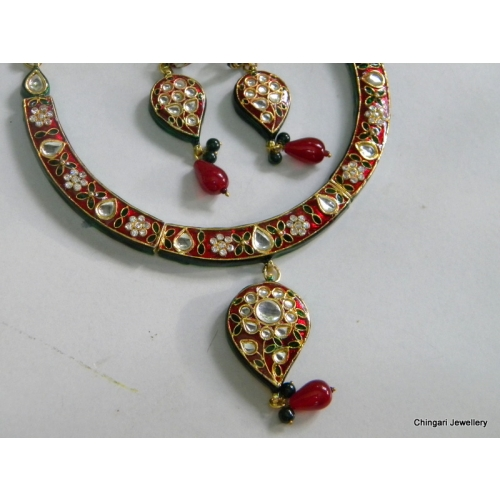 Meenakari Necklace - Maroon And Green, Also White
