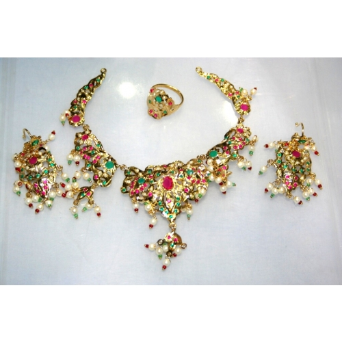 New Amritsari Set Studded With Semi Precious Stones With Gold Platting .